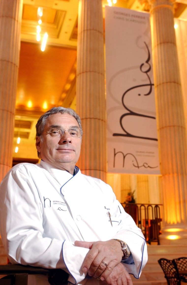 """Renowned chef Georges Perrier stands in front """"Mia,"""" his Mediterranean bistro at Caesars Atlantic City Hotel Casino in Atlantic City, N.J. Perrier is one of several high-profile culinarians getting in on the game in Atlantic City."""