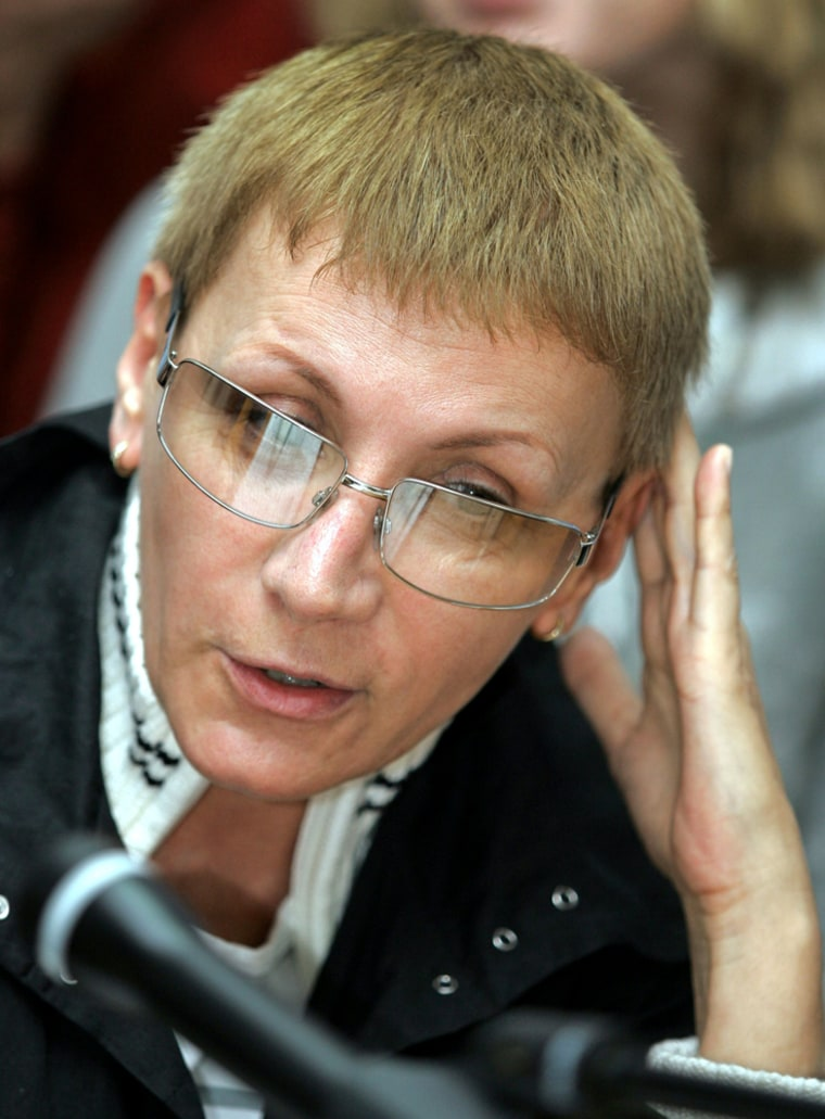 Head of Russian Lesbian Movement Debryanskaya speaks during news conference in Moscow