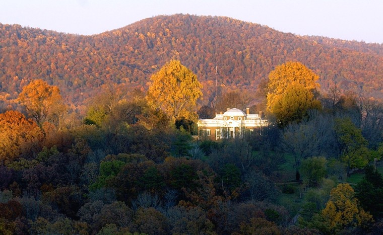 Monticello, Thomas Jefferson's historic home, sits amid the fall foliage of the Blue Ridge Mountains in Charlottesville, Va.