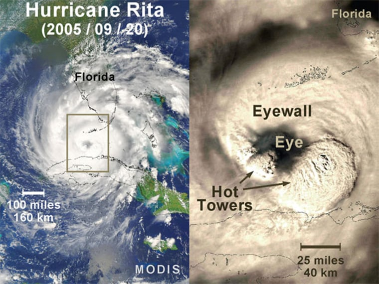 On Sept. 20, 2005, Hurricane Rita rapidly intensified after entering the warm waters of the Gulf of Mexico. During that intensification, the MODIS instrument on the Aqua satellite capturedan image of the cloud tops of Hurricane Rita. The right-hand imageclearly shows two hot towers in the hurricane's eyewall.