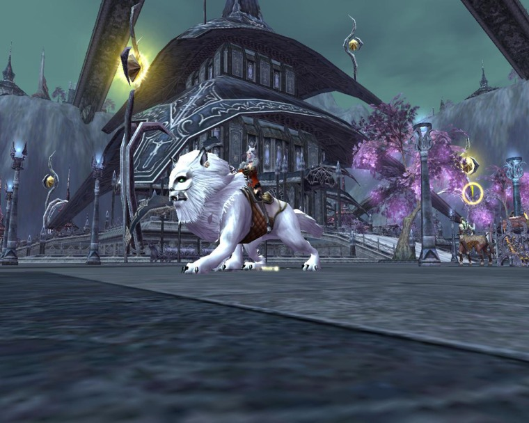 """An elf character rides a mount through the city in this screenshot from the upcoming game """"Archlord."""""""