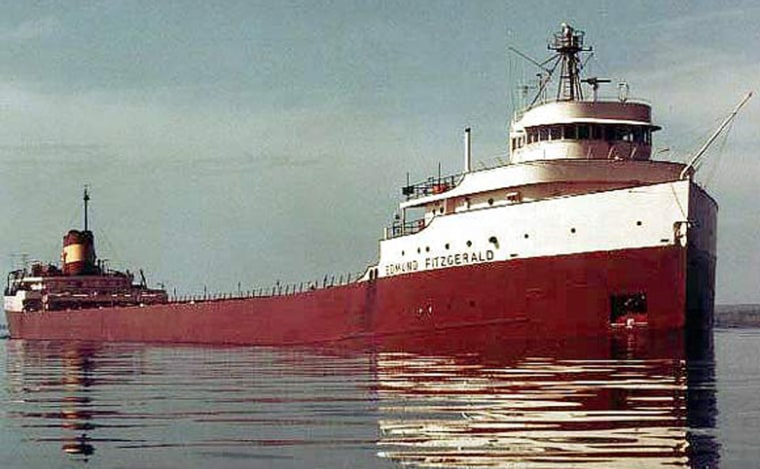 The 729-foot-long lake freighter Edmund Fitzgerald sank on Lake Superior during a storm in November 1975, with all 29 crew members lost.
