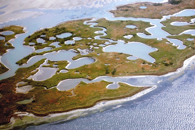 Chandeleur Island is seen on Oct. 25, 2005, afterHurricane Katrina carved out much of the land there.