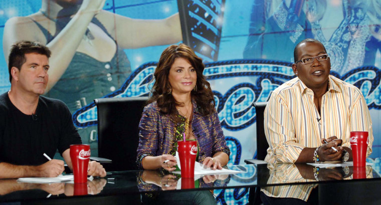 Publicity photo of the three judges of reality television series 'American Idol'