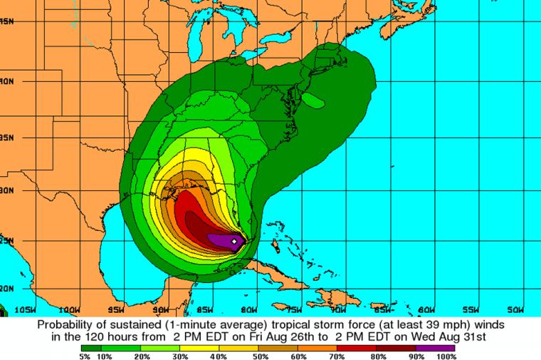 This type of graphic, showing probabilities of tropical force winds as Katrina sped towards the coast last Aug. 26, is nowbeing used byNational Hurricane Centerforecasters.