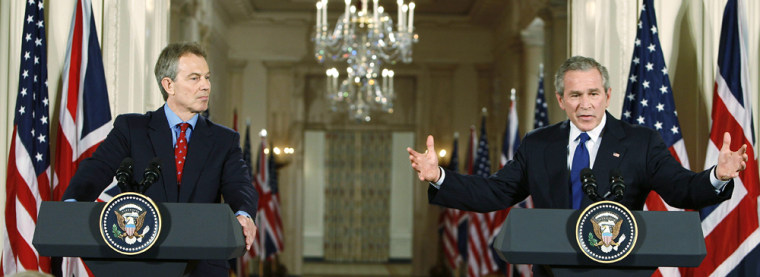 US President Bush holds joint news conference with British Prime Ministers Blair in Washington