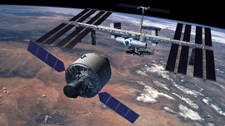An artist's conception from NASA shows the Crew Exploration Vehicle, or CEV,in the foreground and the international space station in the background. It's up to competing teams to flesh out the engineering details of the CEV in their proposal.