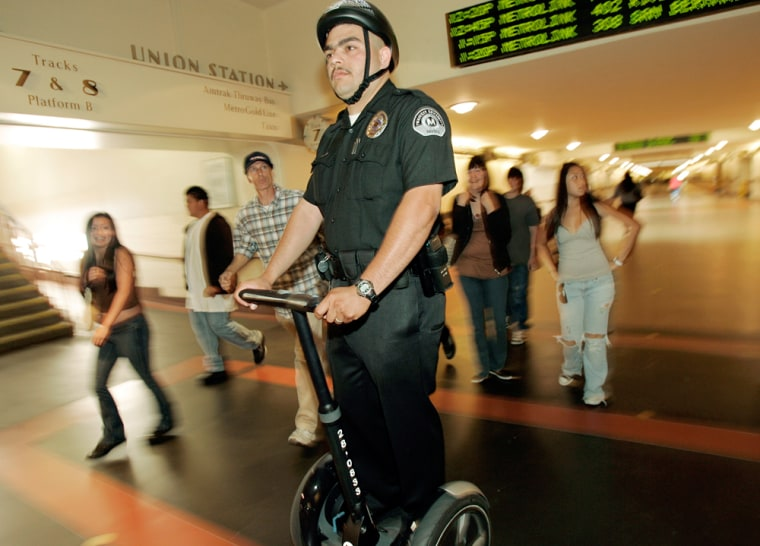Transit Security Officer Marco Orduno patrols Union Station in Los Angeles.
