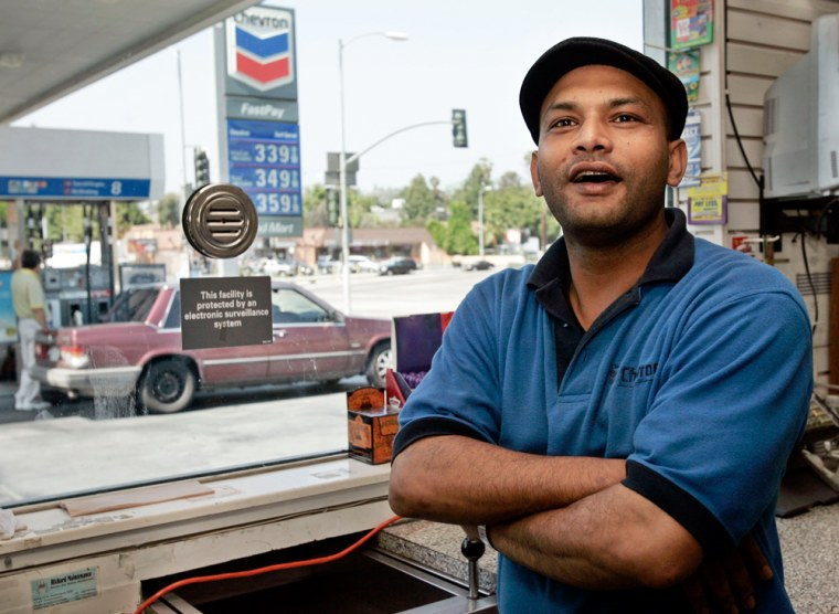 """""""Everyone is suffering at the same time,"""" saysSam Shirazie, a clerk at a Chevron station in Los Angeles. """"If I could help to reduce that pain, I would."""""""