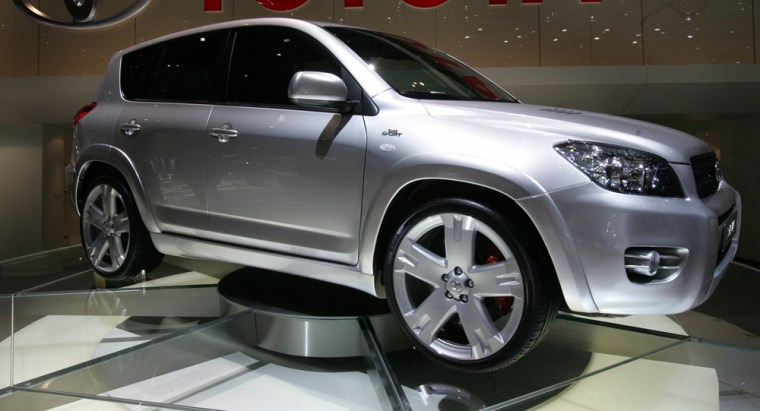 A Toyota RAV4 is on display at the 76th Geneva motor show