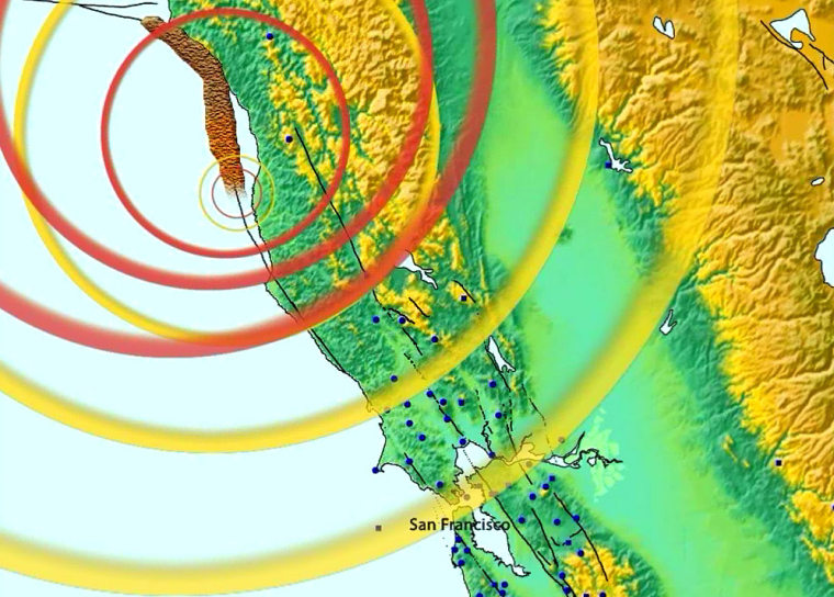 This simulation shows an earthquake rupturing along the San Andreas fault from the north toward San Francisco. The energy radiating from the rupture travels as P-waves (yellow) and S-waves (red). The broad brown line is the rupture itself. Experts say there could bea minute of warningbefore significant ground shaking in the Bay Area.