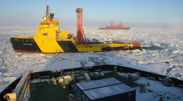 An armada of three icebreakers kept abundant ice at bay so that ocean-drilling scientists could collect sediment core samples from beneath the Arctic sea floor.