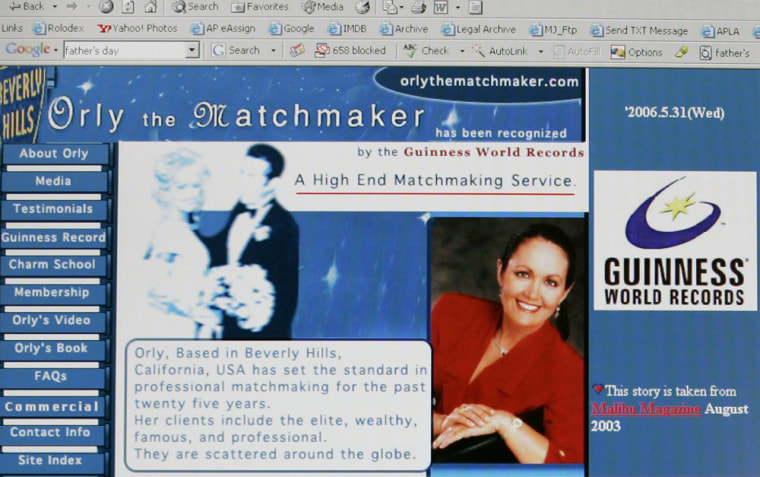 Matchmaker Orly Hadida's Web site is seen in this image captured Tuesdayfrom a computer screen.