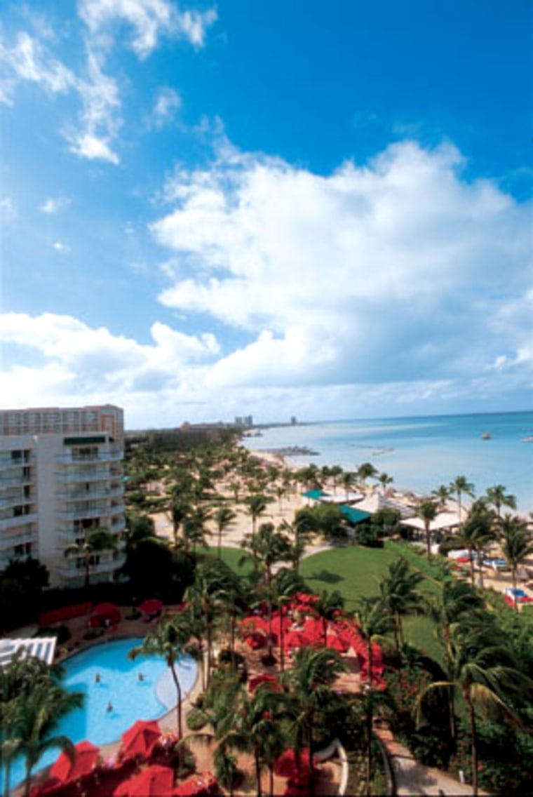 Full-service resorts (like the Marriott shown here) and diversions galore line the eight miles of Aruba's famed Palm Beach.