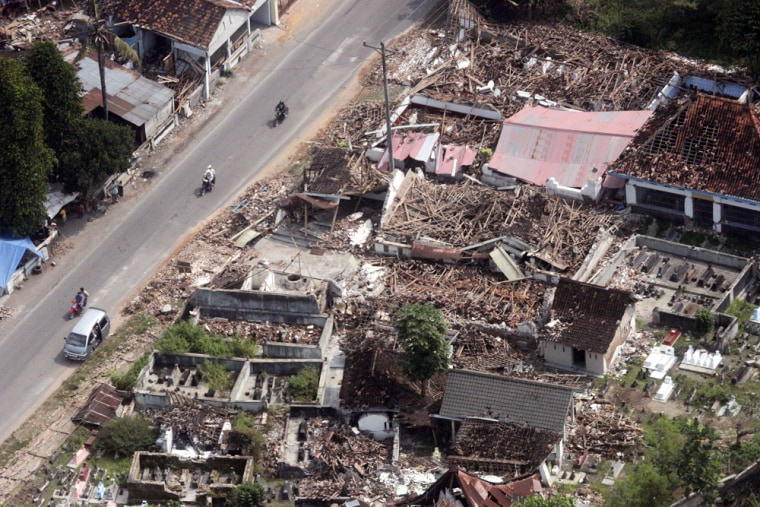 An aerial view of destroyed houses in Bantul, Yogyakarta, on Thursday. The death toll from last week's earthquakehas continued to rise.