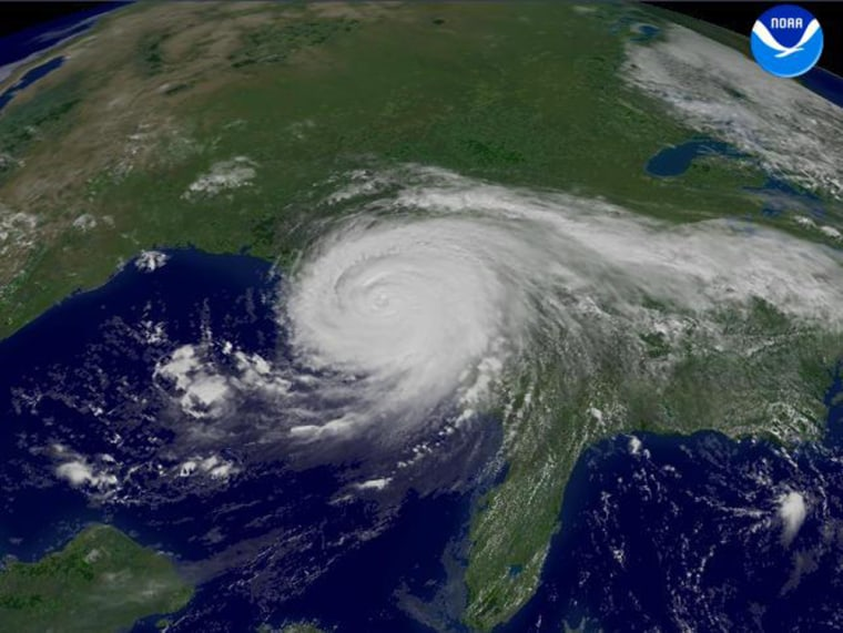 A satellite image from August 2005 shows Hurricane Katrina coming ashore from the Gulf of Mexico.