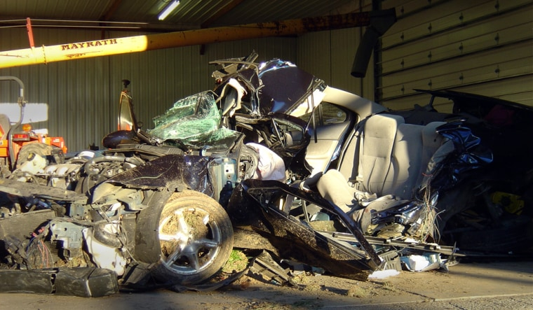 The family of 15-year-old Ashley Waddell bought the crumpled remains of the car in which she was riding with two boys when it crashed in Tazewell County, Ill.,on Sept. 28,2005.The three teens wereamong15 killed over the past 15 months in a string of accidents in the community.