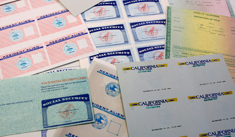 Fake and blank identification documents, seen at an Immigration and Customs Enforcement office in Los Angeles, are sold to illegal immigrants for as little as $150.