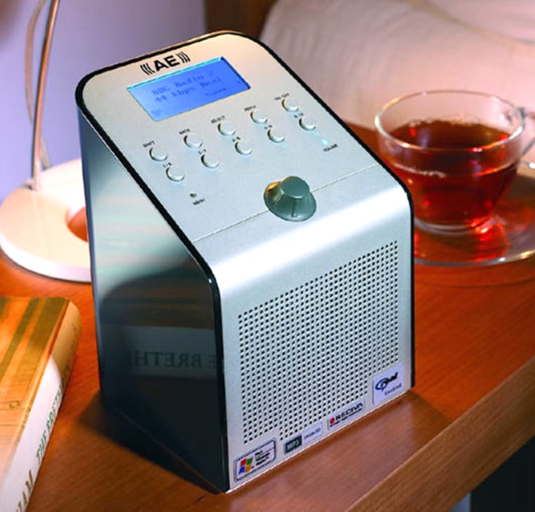 AE's Wi-Fi radio looks right at home on a bedstand or anywhere you can receive awireless Internetconnection. The night-cap on the rightis strictly optional.