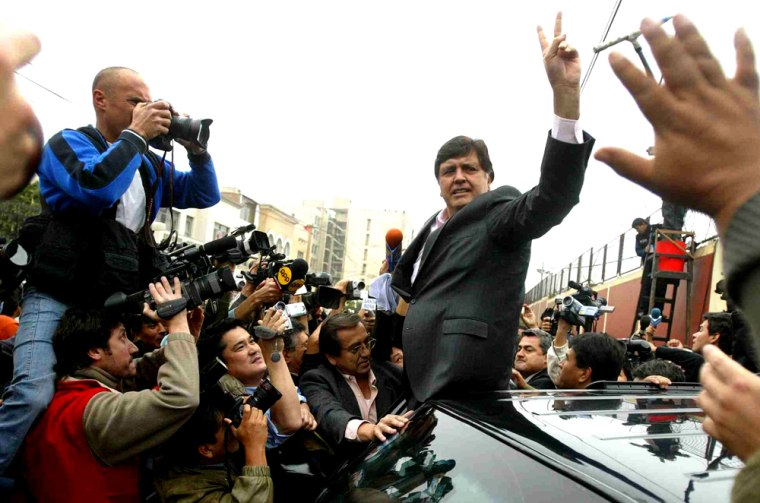 Presidential candidate Alan Garcia waves to supporters in Limaafter voting Sunday.