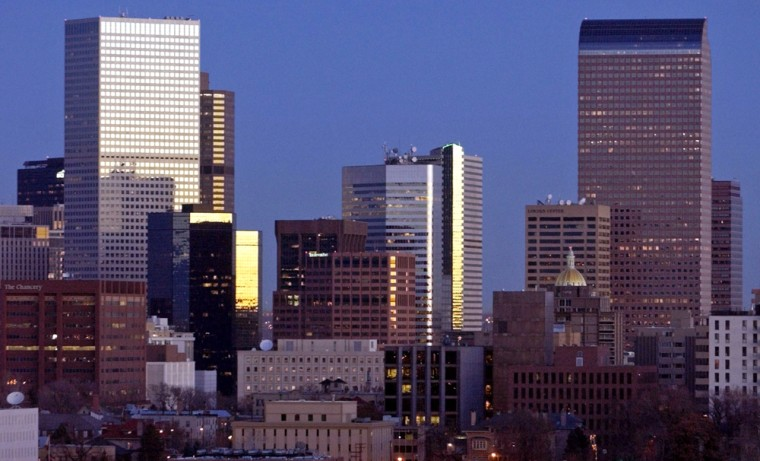 The Denver skyline sits in the early morning light.