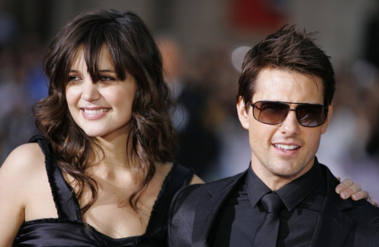 "File photo of Tom Cruise and fiance actress Katie Holmes attending fan screening of ""Mission: Impossible III"" in Hollywood"