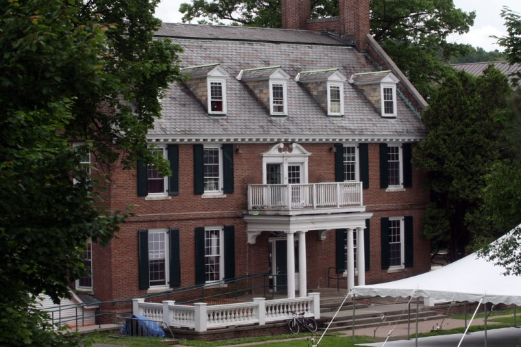 """The Alpha Delta fraternity at Dartmouth College in Hanover, N.H., an inspiration for the 1978 movie """"National Lampoon's Animal House,"""" is shown Friday."""