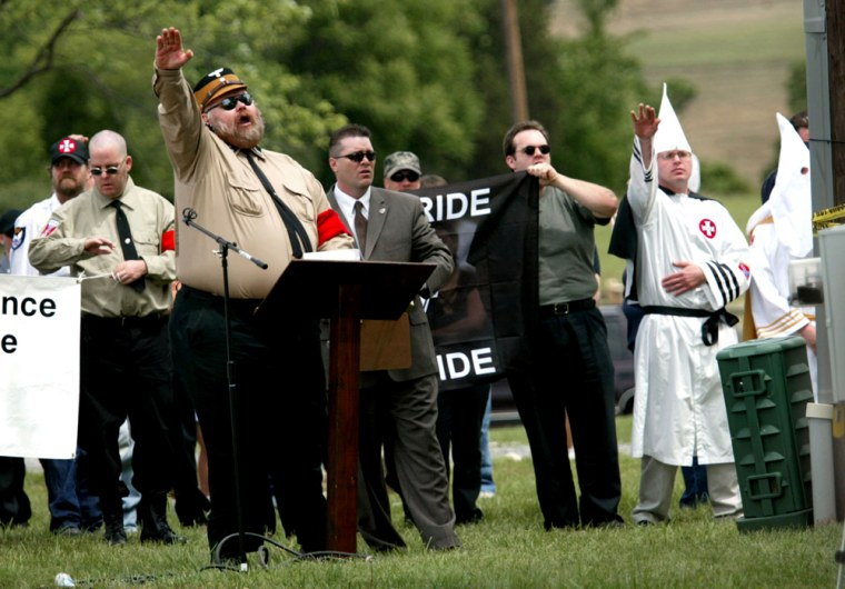 Members ofthe National Socialist Movement and the Ku Klux Klan gather on Saturday at the Antietam National Battlefield in Sharpsburg, Md.
