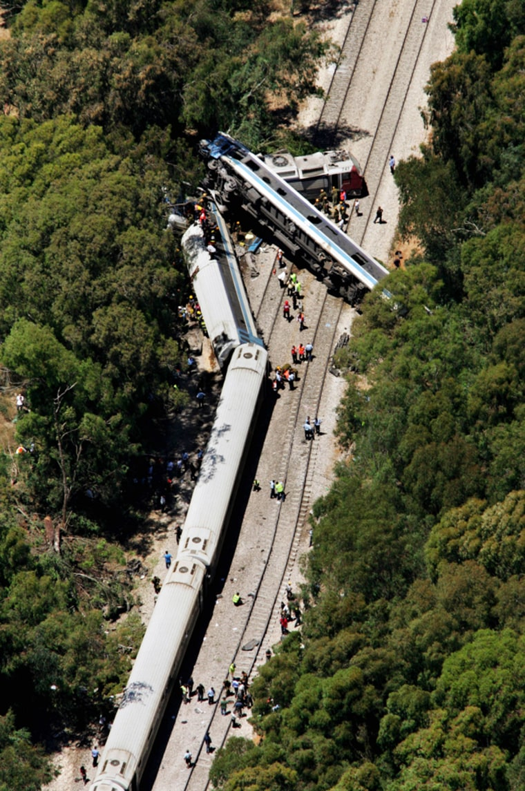 An aerial view of the rescue operations at the site of a derailed train near Netanya, Israel, on Monday. Dozens were injured in the wreck.