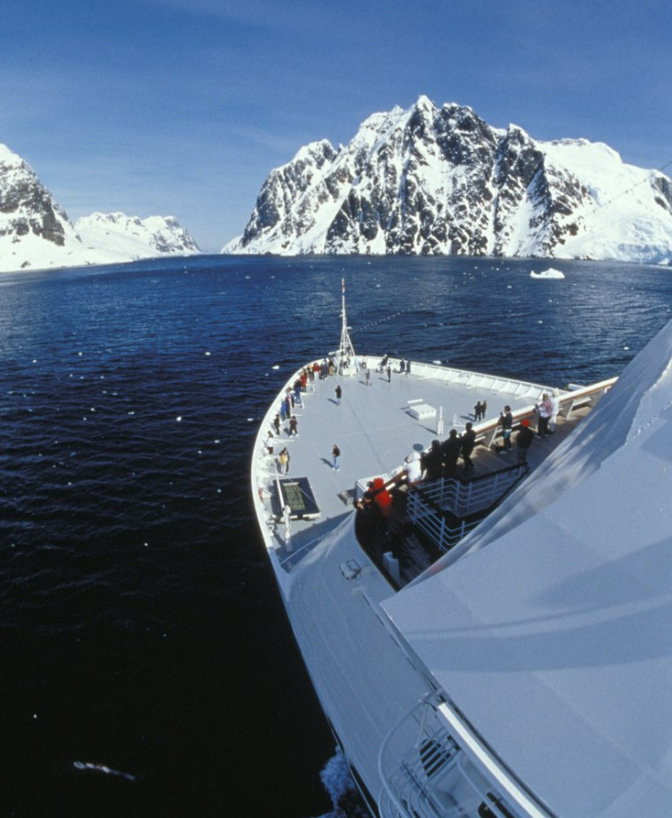 Cruise ship traffic to Antarctica has increased in recent yeras. This ship is seen in theLemaire Channel.
