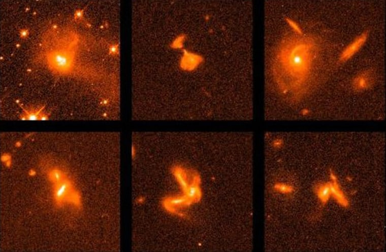 This selection of ultra-luminous infrared galaxies wasdocumented bythe Hubble Space Telescope. The infrared brilliance of these extreme objects, which are galaxy mergers in progress, results from intense concentrations of hot gas at their centers.