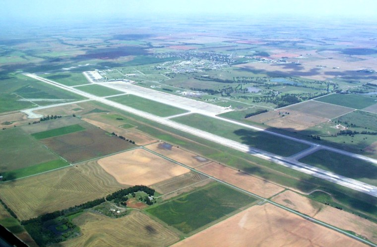 An aerial view shows the Oklahoma Spaceport's 13,503-foot-long runway, which is one of the facility's selling points.