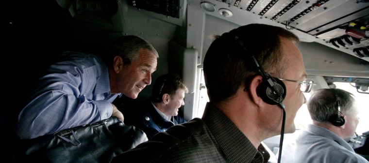 President Bush rides in the cockpit of Air Force One on the final approach before landing in Baghdad