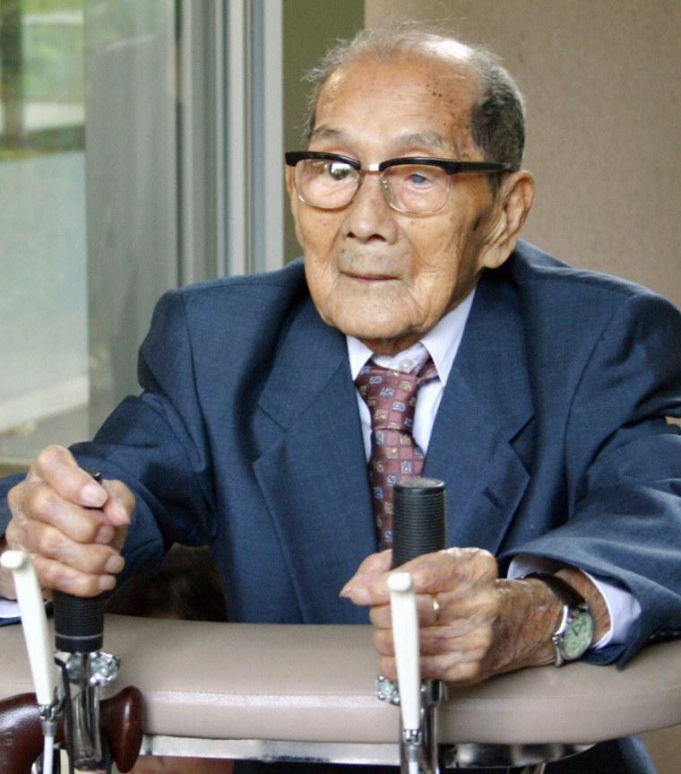 File photo of Japan's oldest man Tokuda is seen in Kagoshima, southern Japan