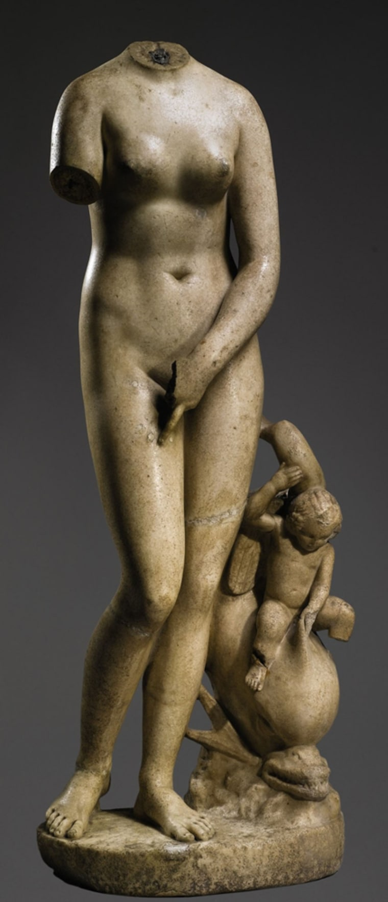 This image from the Michael C. Carlos Museum of Emory University shows a Roman marble statue of Venus that was purchased by the museum at a Sotheby's auction this month. The museum plans to reunite the statue with its head.