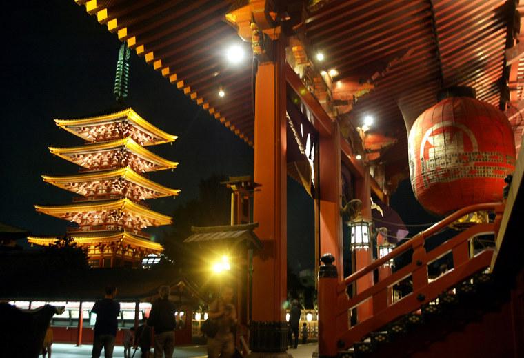 SENSOJI TEMPLE IS LIT UP MARKING 400TH ANNIVERSARY OF EDO SHUGUNATE IN TOKYO