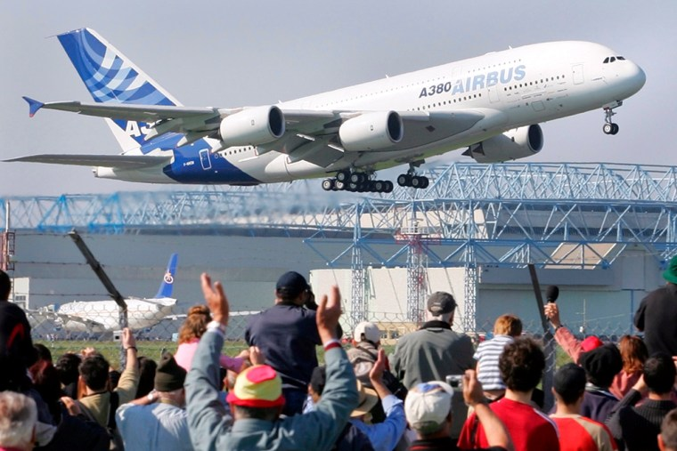Spectators cheered as the Airbus A380 took off successfully on its maiden flight on April 27, 2005. Shares in Airbus' parent company plummeted earlierthis week afternew delivery delays raised questions about the company's management and strategy.
