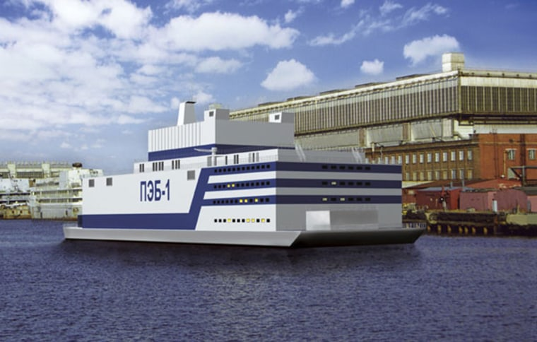 This illustration shows what the world's first-ever floating nuclear power plant would look like.