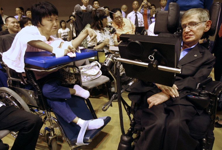 Professor Stephen Hawking (R) of the Uni