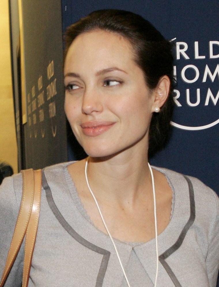 Angelina Jolie attended the World Economic Forum in Davos, Switzerland on Jan. 26, 2006.