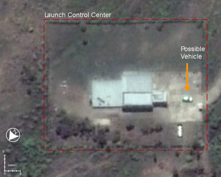 A commercial satellite photo of North Korea's Nodong missile launch site taken on by a Digital Globe satellite and annotated by analysts at GlobalSecurity.org, shows what appears to be a vehicle parked outside the installation's launch control center