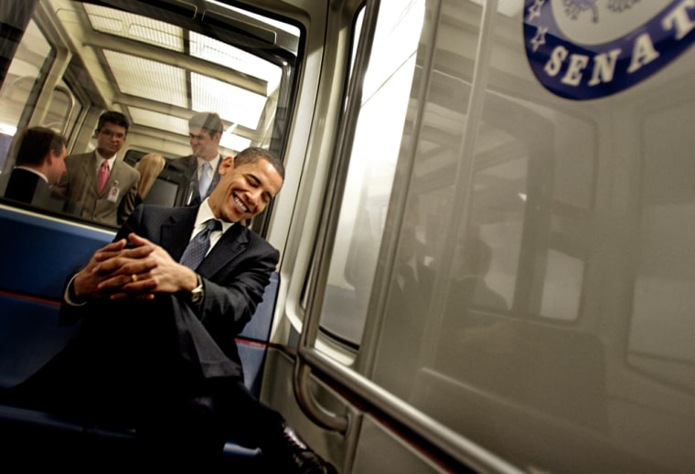 Sen. Barack Obama (D-Ill.) reacts to a colleague's teasing during a ride back to his office on the Senate train.