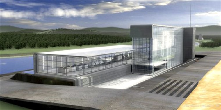 In this photo released by the U.S. Department of Energy, an artist's rendering of the next-generation FutureGen power plant is shown. Twelve sites in seven states, including four sites in Illinois, are vying to host the billion dollar plant that is tentatively scheduled to be operational by 2012.