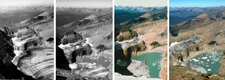 Thepressure onGlacier National Park in Montana includesmelting ice.Grinnell Glacier is seen, from left,in 1938, 1981, 1998, and 2005. Upper Grinnell Lake continues to get bigger as the glacier recedes. Icebergs can be seen floating in Upper Grinnell Lake in the recent photos.