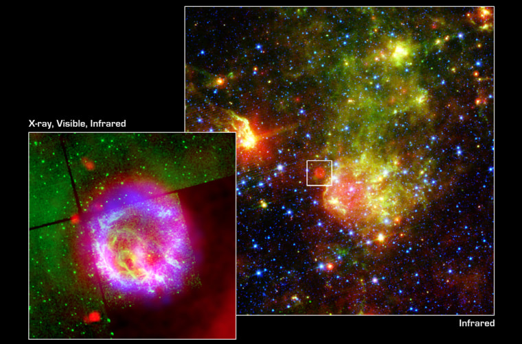The larger image provides an infrared view of a portion of the Small Magellanic Cloud containing the supernova remnant E0102. The smaller inset (represented in the larger image by a white-outlined squarer) is a composite X-ray, optical and infrared image of E0102.