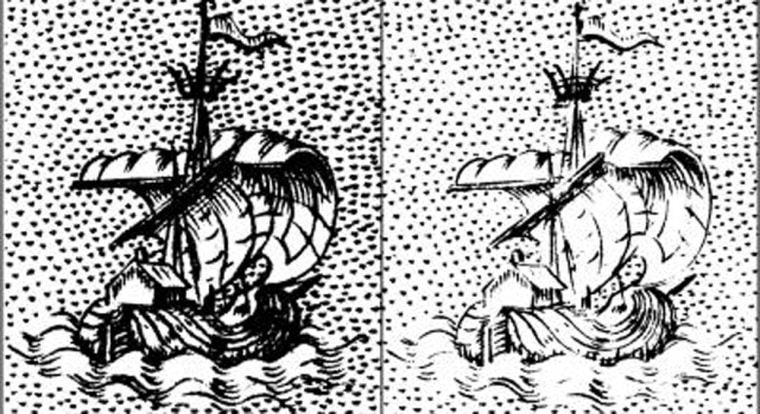 These images are close-ups of a half-inch-wide (centimeter-wide) section of prints from two editions of an Italian Renaissance book by Porcacchi. The left image is from a 1576 edition, the right from 1604. The comparison illustrates time-dependent image fading, useful for dating books and prints.