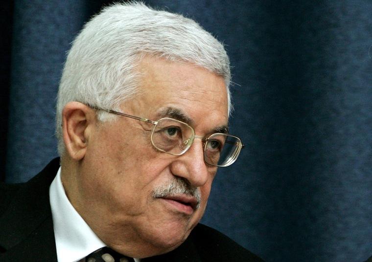 Palestinian President Abbas attends a meeting in Ramallah