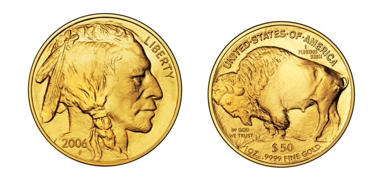 These images provided by the U.S. Mint show the front and back of the American Buffalo coin.The design is the same one thatwas on the nickel from 1913 until 1938.
