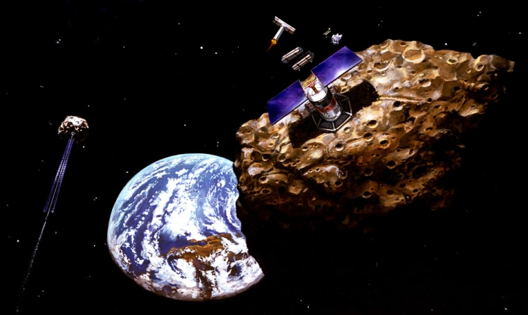 "An artist's conception shows a robotic mining operation on a near-Earth asteroid. Researchers have suggested using a robot to ""steer"" a small asteroid into a threatening space rock and break it into more manageable pieces."