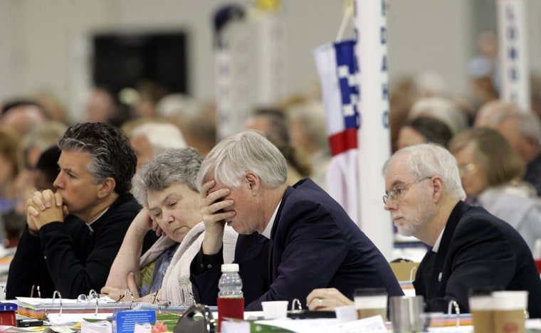 Delegates listen to a debate on barring gay bishops during the Episcopal General Convention in Columbus, Ohio, on Tuesday.